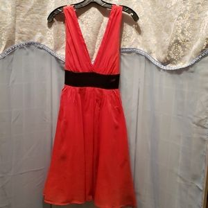 FOREVER 21 RED/BLACK SILK/COTTON DRESS SZ M